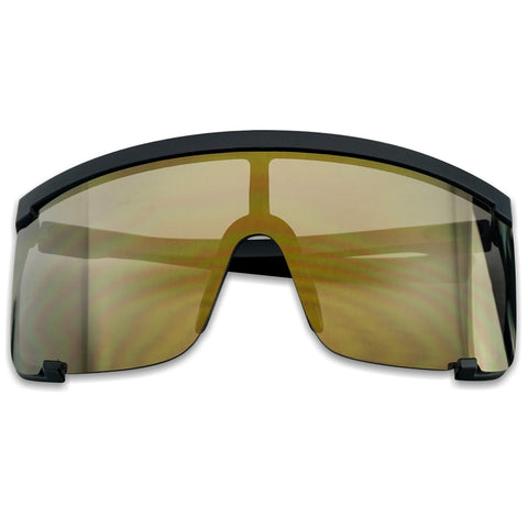 150MM OVERSIZE SHIELD MIRRORED LENS SUNGLASSES