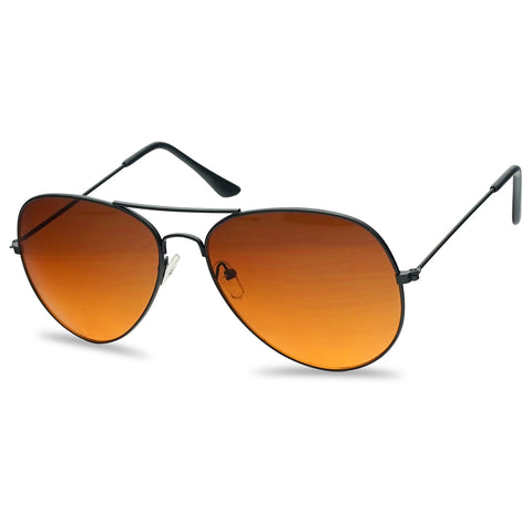 Classic Aviator Fashion Sunglasses Black Frame with Blue Blocking Orange Amber Affordable Under 10 Cheap Sunglasses for Men and Women Unisex Style SU1106BB 1106BB