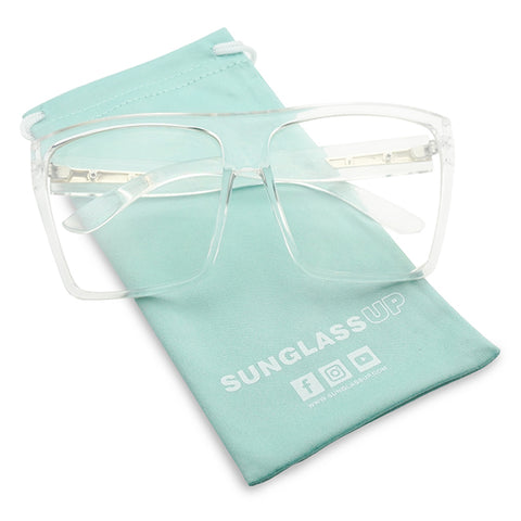 OVERSIZED TRANSPARENT TRAPEZOID GLASSES