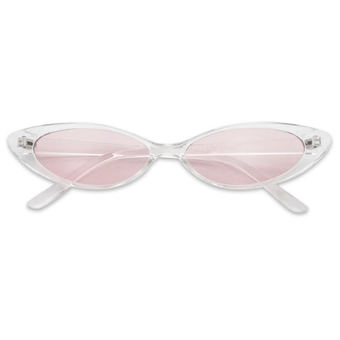 90'S SMALL OVAL SLIM MIRROR CAT EYE SUNGLASSES