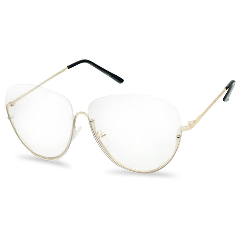 ROUND HALF GOLD TRIM RIMLESS GLASSES