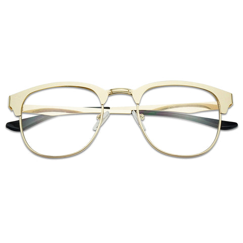 CLASSIC SQUARE HALF FRAME METAL GLASSES