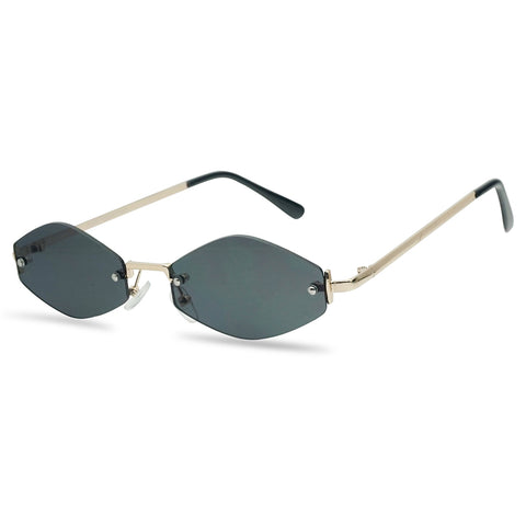 SMALL 1990'S RIMLESS GEOMETRIC NARROW SUNGLASSES