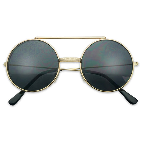 CIRCULAR METAL FRAME FLIP-UP SUNGLASSES