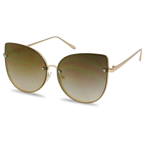 OVERSIZED STUNNING RIMLESS MIRRORED LENS SUNGLASSES