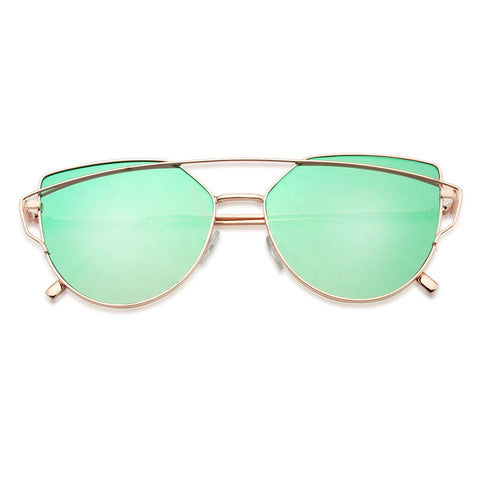 EYE CATCHING MODERN CROSS BAR FLAT MIRRORED LENS SUNGLASSES
