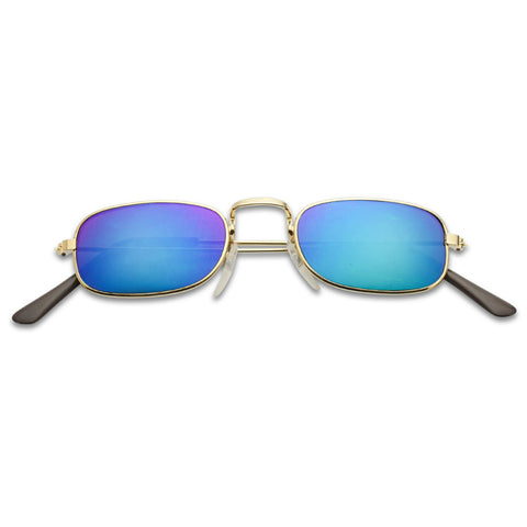 90'S TINY VINTAGE RECTANGLE MIRRORED SUNGLASSES
