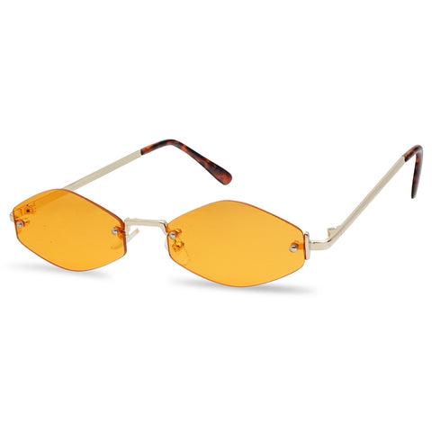 RETRO 1990'S RIMLESS OVAL COLOR TINT SUNGLASSES
