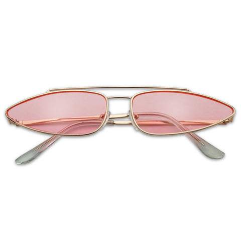 SLIM OVAL LONG POINTED CAT EYE SUNGLASSES