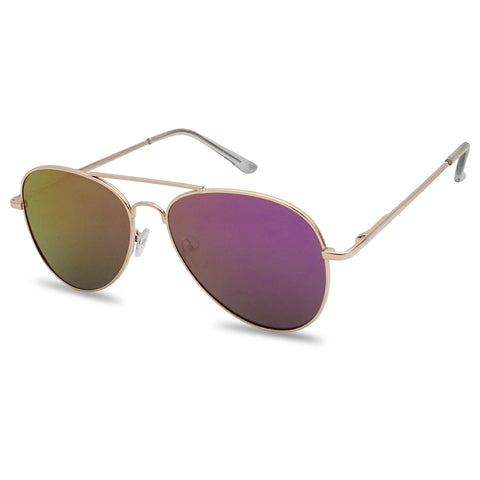 SMALL CLASSIC FLAT COLOR MIRRORED AVIATOR SUNGLASSES