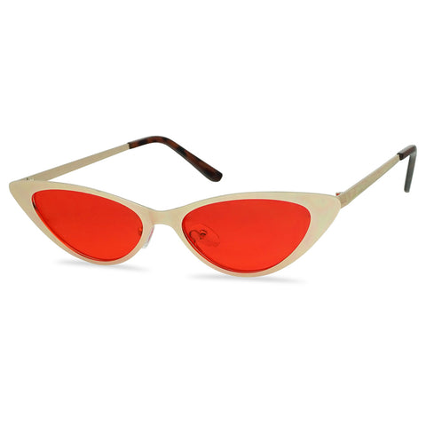 FULL METAL OVAL CAT EYE COLOR TINTED SUNGLASSES