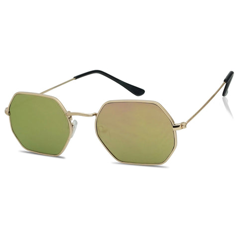 SLIM GEOMETRIC FLAT MIRRORED SUNGLASSES