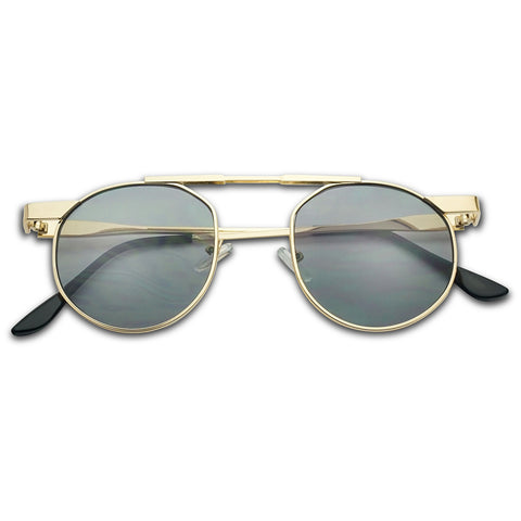 RETRO FLAT ROUND CROSS BROW SUNGLASSES