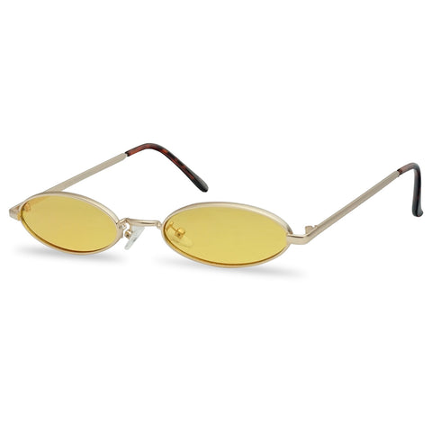 ULTRA SLIM SMALL FLAT OVAL 90'S COLOR TINT SUNGLASSES
