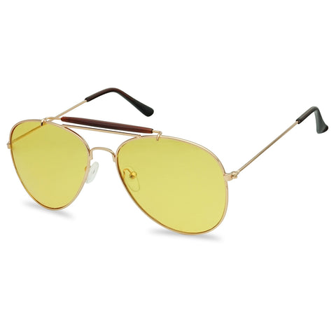 DOUBLE BAR YELLOW LENS AVIATOR SUNGLASSES