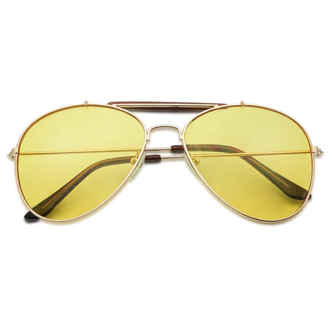 Classic gold metal frame yellow night driving transparent anti glare reflective lens pilot sunglasses double crossbar