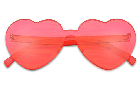 Red Bold Rimless Futuristic One Piece Heart Shaped Fashion Sun Glasses su1838 ks1838