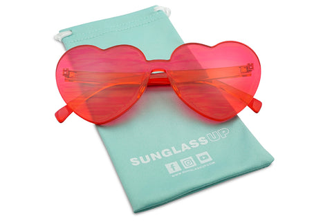 Cute Hot Pink Fashion Heart Shaped Mono Transparent Colorful Lens Sunnies