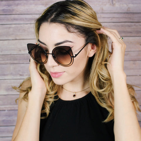 LARGE COLORED ROUND CAT EYE SUNGLASSES
