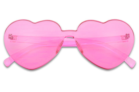 Cute Colorful Mono Block Translucent Block Cut Heart Sunglasses For Ladies KS 1838