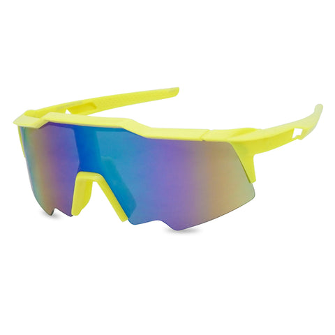 OVERSIZED SPORTY FULL SHIELD NEON WRAPAROUND SUNGLASSES
