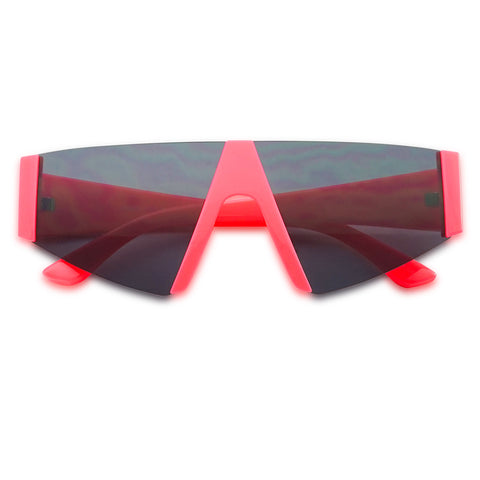 OVERSIZE NEON CHUNKY FLAT TOP GEOMETRIC SHIELD SUNGLASSES