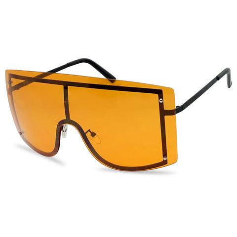 155MM OVERSIZED FULL COLORED SHIELD RIMLESS SUNGLASSES