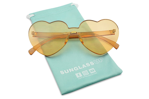 Oversized Mono Lens PC Translucent Rimless Frame Futuristic Love Sun Glasses Heat Shape KS1838 SU1838