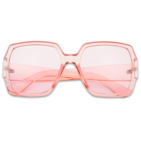 SUPER LARGE COLOR TRANSPARENT FLAT SQUARE SUNGLASSES