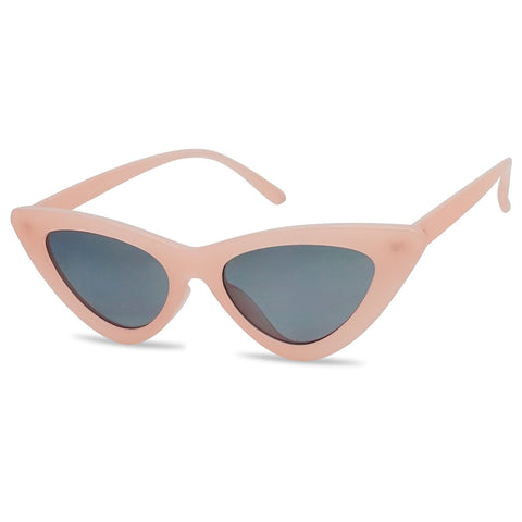 EXAGGERATED SLIM NEUTRAL COLOR LOLITA CAT EYE SUNGLASSES