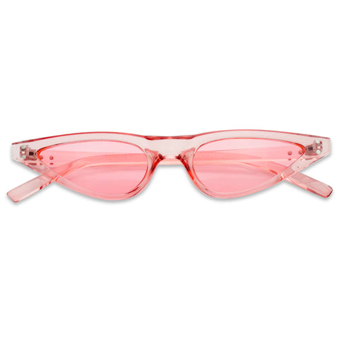 COLORFUL SMALL RETRO SLIM CAT EYE SUNGLASSES