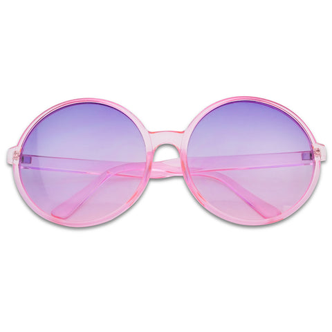 SUPER OVERSIZED COLOR TRANSLUCENT ROUND SUNGLASSES