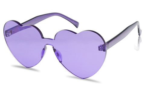 Big Color Monoblock Heart V-Day Love Themed Sun Glasses for Girls