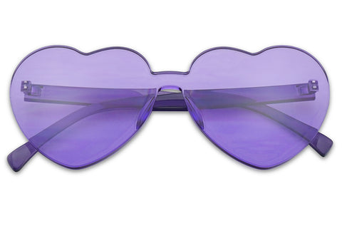 Big Love Shape Heart Round Rimless Transparent 1 Piece Vintage Fashion Womens Girls Sunnies Purple Frame