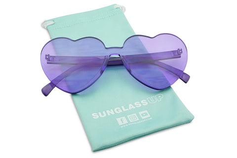 MONO BLOCK RIMLESS HEART SHAPED SUNGLASSES