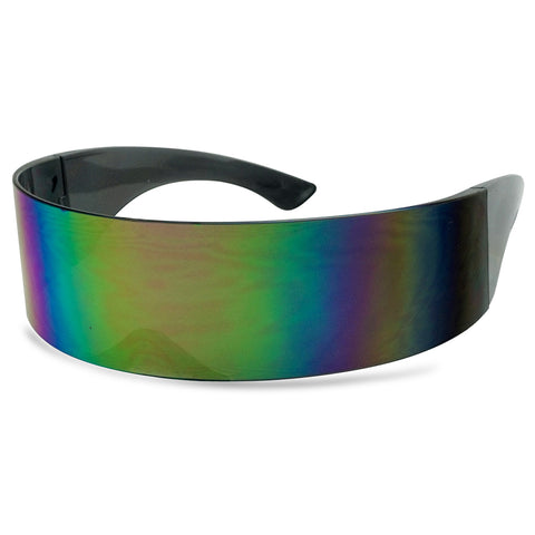 FUTURISTIC MIRRORED WRAP NOVELTY SUNGLASSES