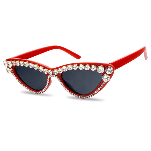 Cherry Red Clout Cateye Sun Glasses Bedazzled Rhinestone Sunnies Women Glamorous Glitter Shiny Eyewear Shades