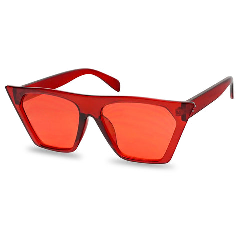 HIGH POINTED SQUARE FLAT TOP CRYSTAL COLORED SUNGLASSES
