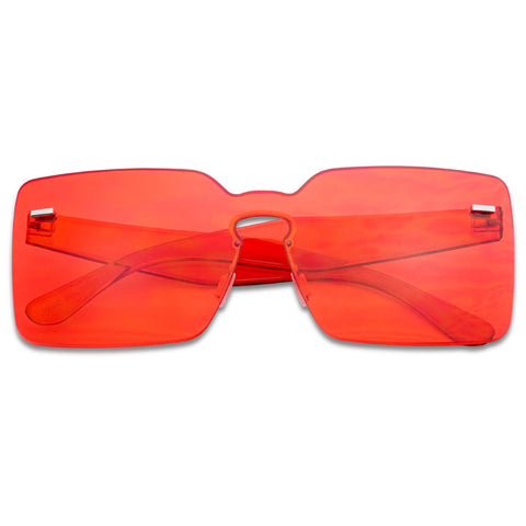 SQUARE MONO BLOCK COLORED TRANSPARENT SUNGLASSES