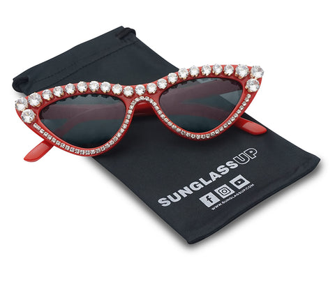 STUNNING RHINESTONE JEWELED SEQUENCE CAT EYE SUNGLASSES
