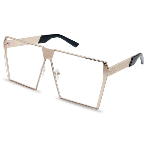OVERSIZED SLEEK RECTANGULAR FLAT GLASSES