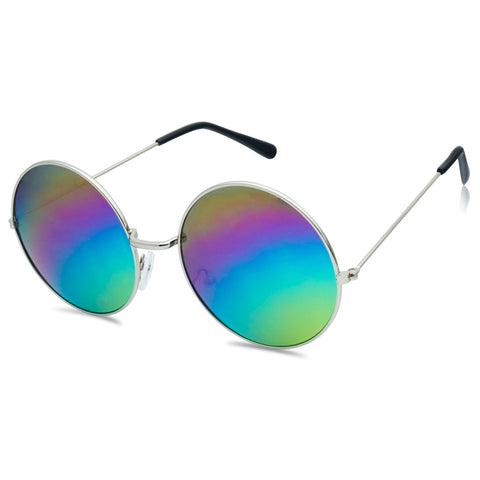 ROUND HIPPIE RAINBOW MIRRORED SUNGLASSES