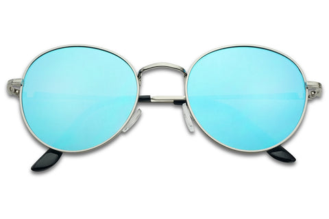 HIPSTER ROUND FLAT MIRRORED SUNGLASSES