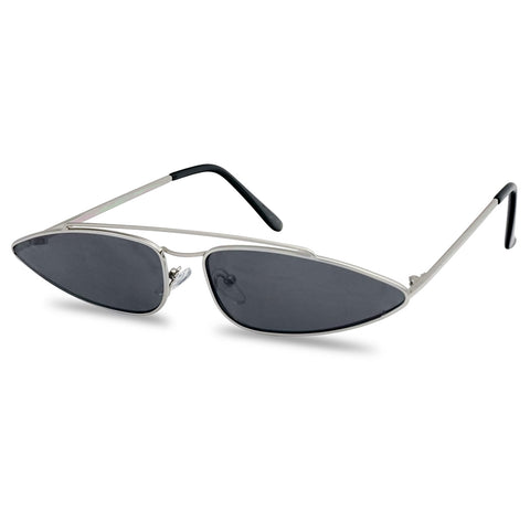 LONG SLIM OVAL CROSSBAR CAT EYE SUNGLASSES