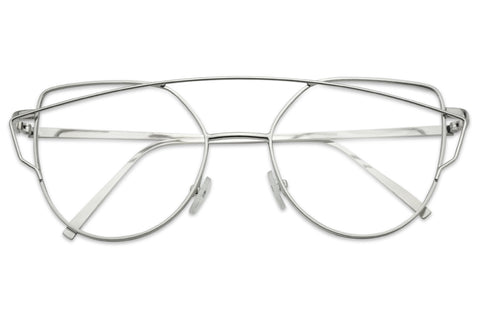 MODERN CROSSBAR CAT EYE CLEAR LENS GLASSES