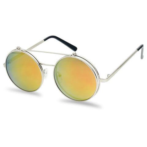 MID SIZE ROUND DJANGO MIRRORED FLIP UP SUNGLASSES