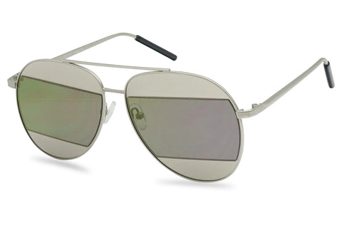 MODERN CUT-OUT MIRRORED AVIATOR SUNGLASSES