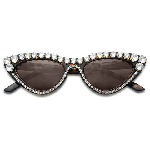 Large Jeweled High Pointy Cat-eye Small Slim Narrow Retro Vintage 90s Cat Eyeglasses