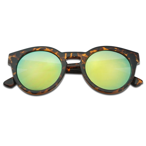 ROUND KEYHOLE FLASH MIRRORED HORN SUNGLASSES