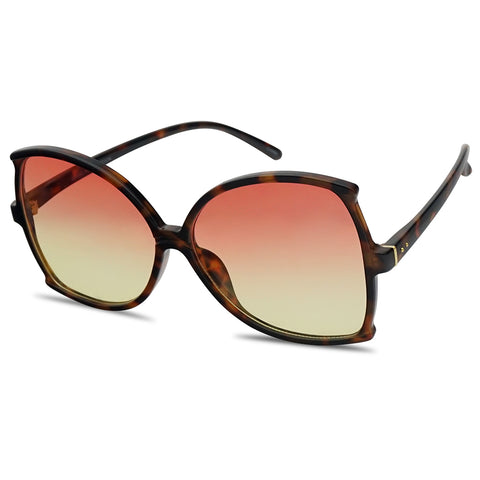 LOVELY COLORFUL OVERSIZED BUTTERFLY STYLE FLAT SUNGLASSES